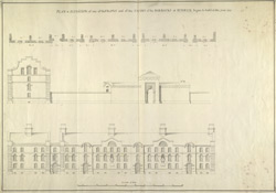 Elevation of one of the fronts and of the entry of the barracks at Berwick begun to build in the year 1717